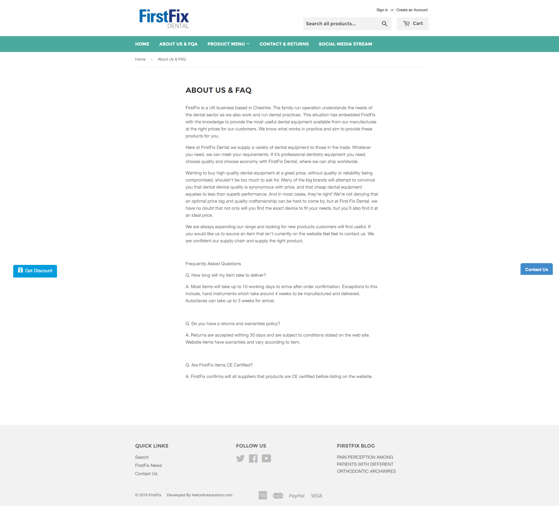 Ask Online Solutions Portfolio FirstFix Dental About
